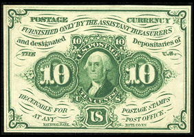 1862 First Issue 10 Cent Notes Fractional Currency