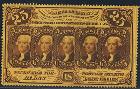 1862 First Issue 25 Cent Notes Fractional Currency