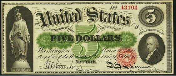 1862 Five Dollar Legal Tender Or United States Note