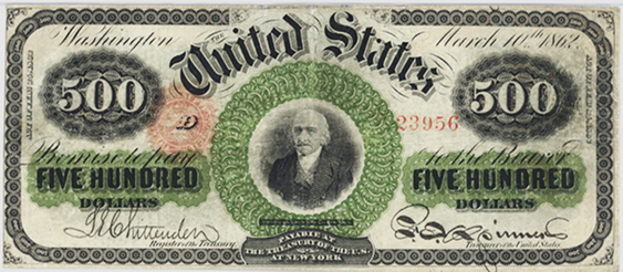 1862 Five Hundred Dollar Legal Tender Or United States Note