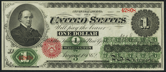 1862 One Dollar Legal Tender Or United States Note
