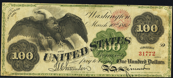 1862 One Hundred Dollar Legal Tender Or United States Note