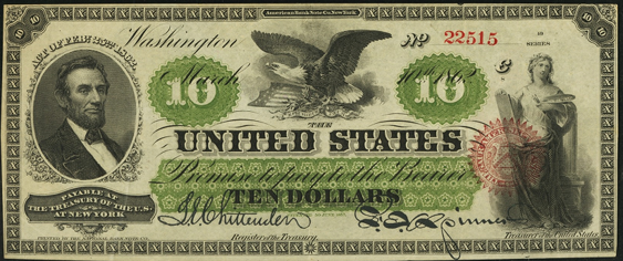 1862 Ten Dollar Legal Tender Or United States Note