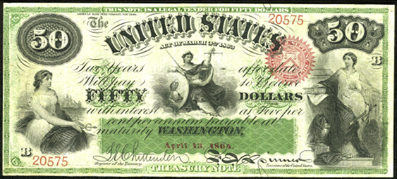1863 Fifty Dollar Interest Bearing Notes 2yr