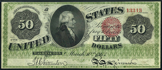 1863 Fifty Dollar Legal Tender Or United States Note