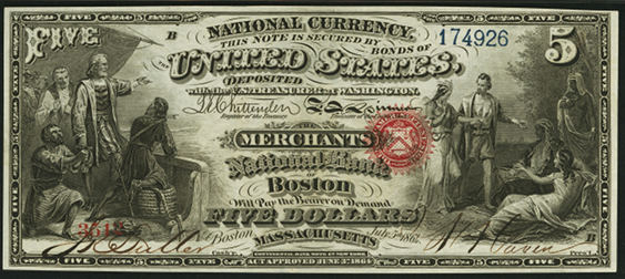 1863 Five Dollar Original Series National Bank Note