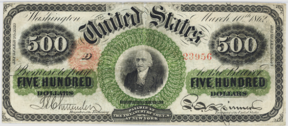 1863 Five Hundred Dollar Legal Tender Or United States Note
