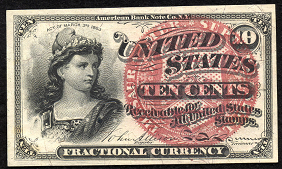 1863 Fourth Issue 10 Cent Notes Fractional Currency