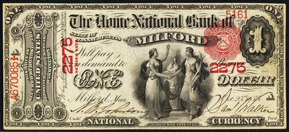 1863 One Dollar Original Series National Bank Note