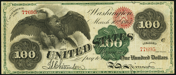 1863 One Hundred Dollar Legal Tender Or United States Note