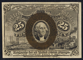 1863 Second Issue 25 Cent Notes Fractional Currency