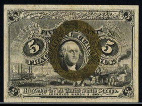 1863 Second Issue 5 Cent Notes Fractional Currency