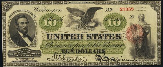 1863 Ten Dollar Legal Tender Or United States Note