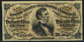 1863 Third Issue 25 Cent Notes Fractional Currency