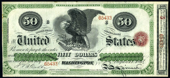 1864 Fifty Dollar Interest Bearing Notes 3yr