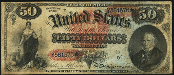1869 Fifty Dollar Legal Tender Or United States Note