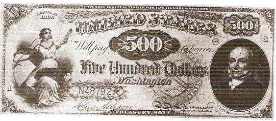 1869 Five Hundred Dollar Legal Tender Or United States Note