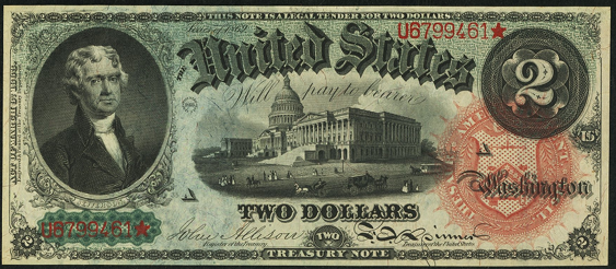 1869 Two Dollar Legal Tender Or United States Note