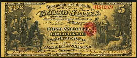1870 Five Dollar National Gold Bank Note