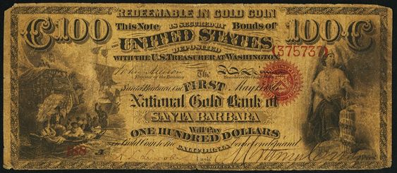 1870 One Hundred Dollar National Gold Bank Note