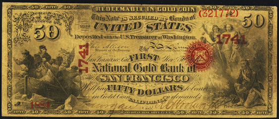 1872 Fifty Dollar National Gold Bank Note