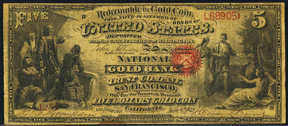 1872 Five Dollar National Gold Bank Note