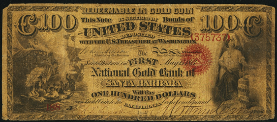 1872 One Hundred Dollar National Gold Bank Note