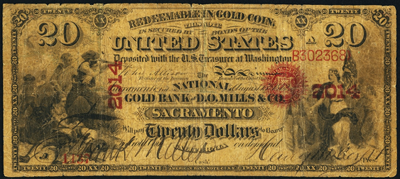 1872 Twenty Dollar National Gold Bank Note
