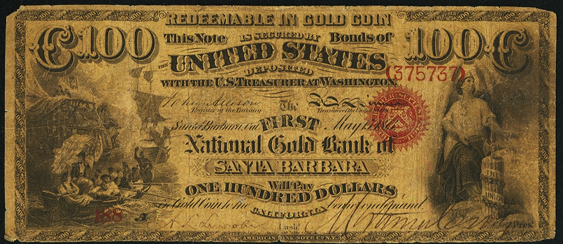 1873 One Hundred Dollar National Gold Bank Note