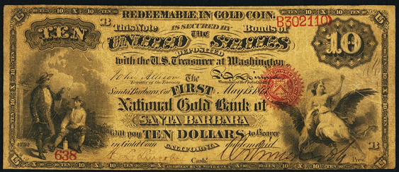 1873 Ten Dollar National Gold Bank Note