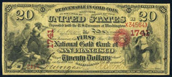 1873 Twenty Dollar National Gold Bank Note