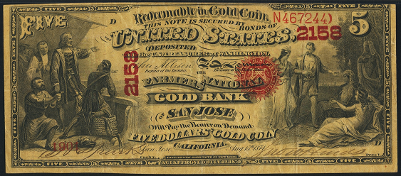 1874 Five Dollar National Gold Bank Note
