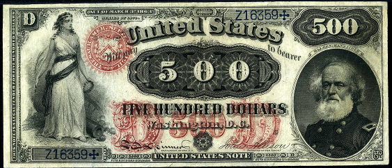 1874 Five Hundred Dollar Legal Tender Or United States Note
