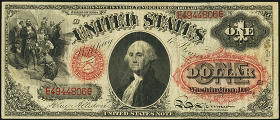 1874 One Dollar Legal Tender Or United States Note