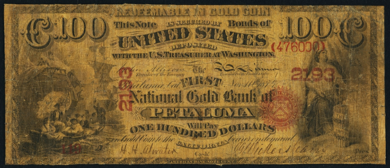 1874 One Hundred Dollar National Gold Bank Note