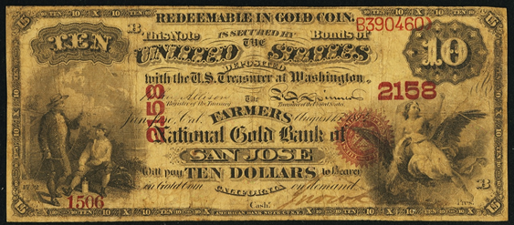 1874 Ten Dollar National Gold Bank Note