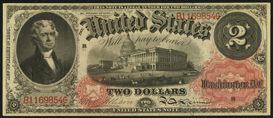 1874 Two Dollar Legal Tender Or United States Note