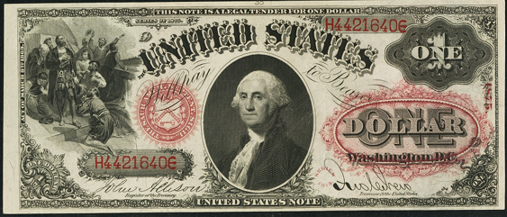 1875 One Dollar Legal Tender Or United States Note