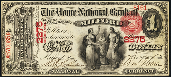 1875 One Dollar National Bank Note