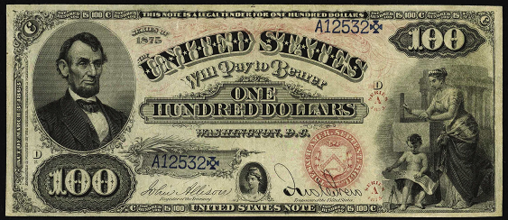1875 One Hundred Dollar Legal Tender Or United States Note