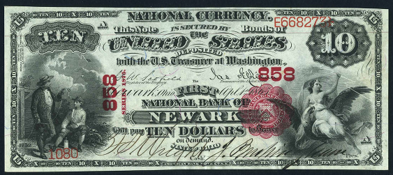1875 Ten Dollar National Bank Note
