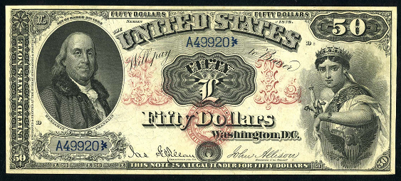 1878 Fifty Dollar Legal Tender Or United States Note