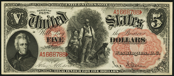1878 Five Dollar Legal Tender Or United States Note