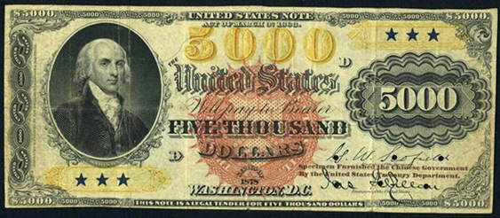 1878 Five Thousand Dollar Legal Tender Or United States Note