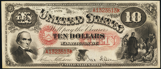 1878 Ten Dollar Legal Tender Or United States Note