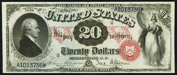 1878 Twenty Dollar Legal Tender Or United States Note