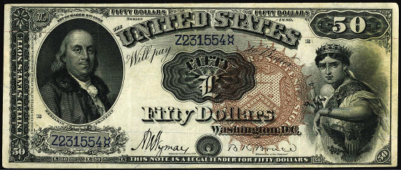 1880 Fifty Dollar Legal Tender Or United States Note