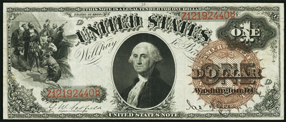 1880 One Dollar Legal Tender Or United States Note