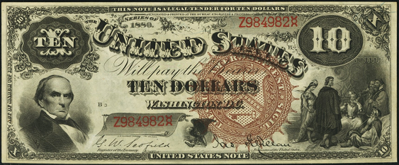 1880 Ten Dollar Legal Tender Or United States Note
