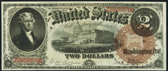 1880 Two Dollar Legal Tender Or United States Note